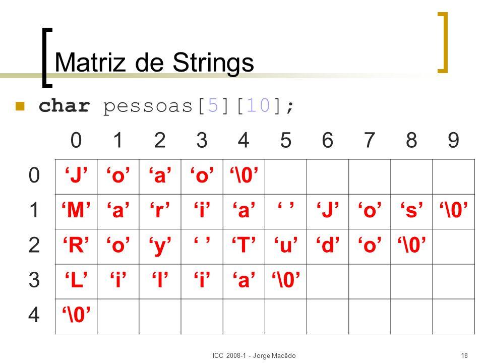 Matriz de Strings char pessoas[5][10]; 1 2 3 4 5 6 7 8 9 'J' 'o' 'a'